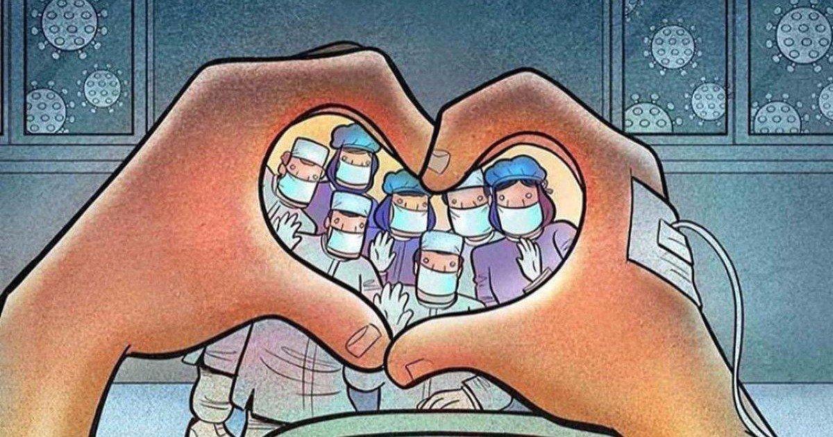 Le dessinateur Alireza Pakdel rend hommage au personnel soignant
