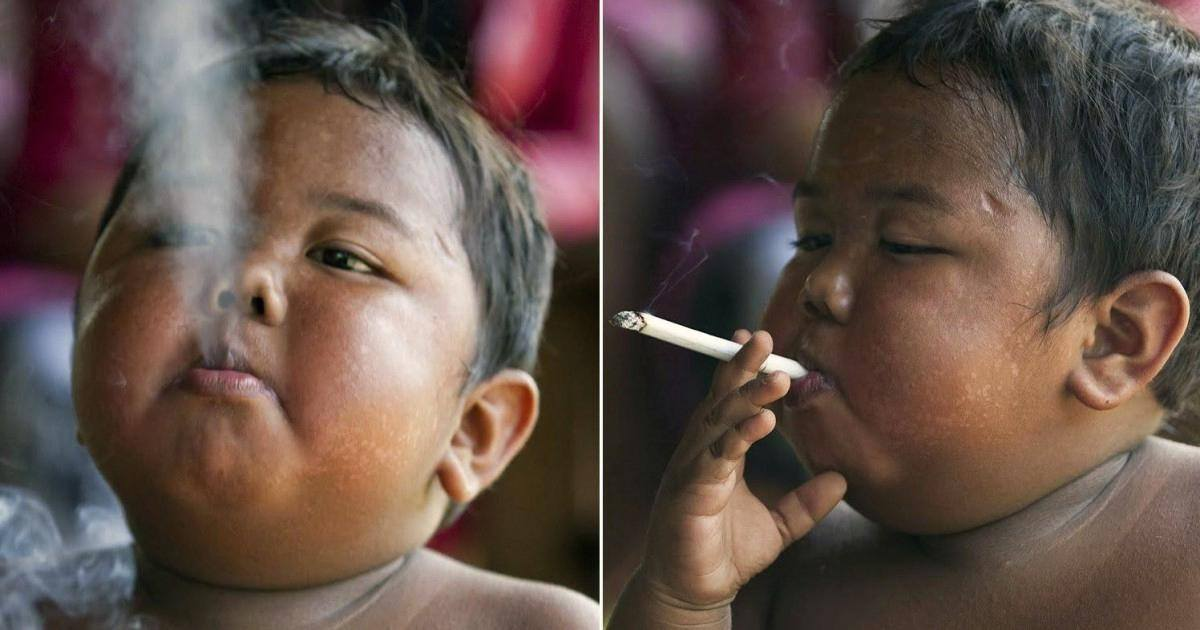 Enfant cigarette