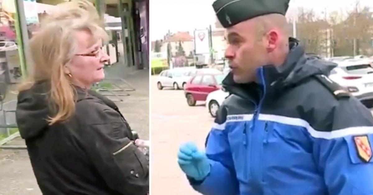 Une femme remise à l'ordre à la sortie d'un magasin par un gendarme