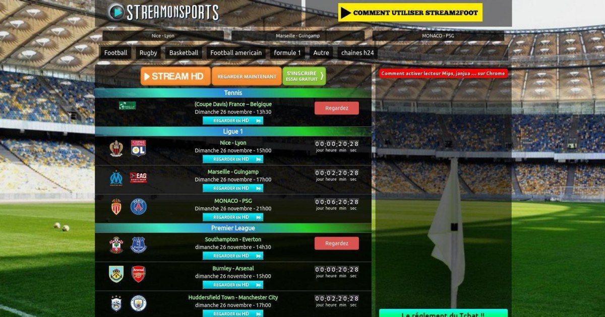 Le site de Streaming sportif Streamonsport prend de l'ampleur face à RMC Sport